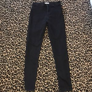 High rise black skinny jeans